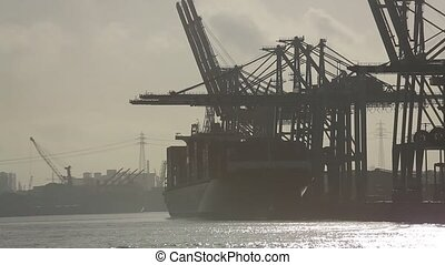 Hamburg Harbor with the River Elbe - video footage of the...