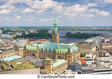 Hamburg in a summer day