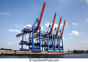 Hamburg Port - Ships in the port of Hamburg in Germany,...