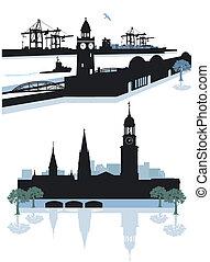 Hamburg Silhouette - Hamburg harbor and city center