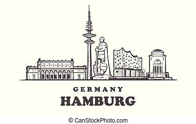 Hamburg hand drawn vector illustration. Isolated on white background.
