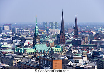 hamburg skyline - aerial photo over the roofs of hamburg...