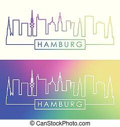 Hamburg skyline. Colorful linear style.