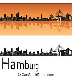 Hamburg skyline in orange background in editable vector file