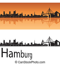 Hamburg skyline in orange background in editable vector file