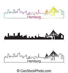 Hamburg skyline linear style with rainbow in editable vector...