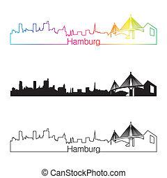 Hamburg skyline linear style with rainbow in editable vector...