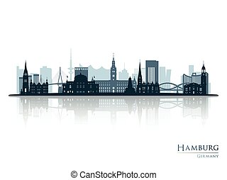 Hamburg skyline silhouette with reflection.
