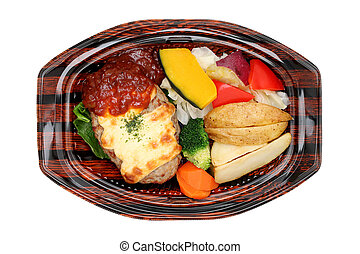 hamburg steak bento isolated on white background