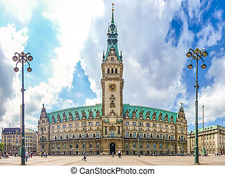 Hamburg town hall at market square in Altstadt quarter,...