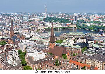 Hamburg under the blue sky