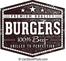 hamburgare, årgång, underteckna, restaurang