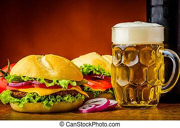 hamburgare, och, öl