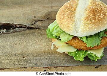 hamburgare, utrymme, trä, text, skriva, bord, höna