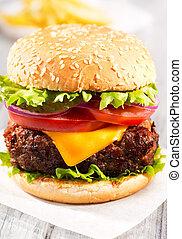 hamburger, à, frire