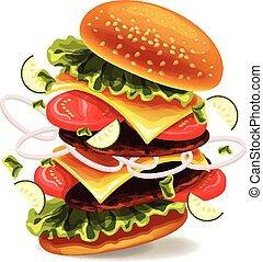 hamburger, é, explodindo