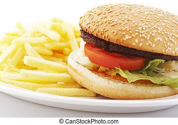 hamburger, és, sültkrumpli