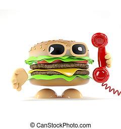 hamburger, 3d, réponses, téléphone