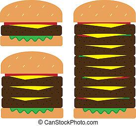 hamburger, accatastare