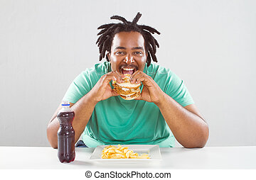 hamburger, americano, africano, mangiare, uomo