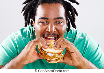 hamburger, americano, uomo, mangiare, africano