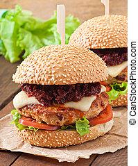hamburger, amerykanka, kurczak