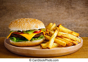 Hamburger and fries - Fast food hamburger and french fries...