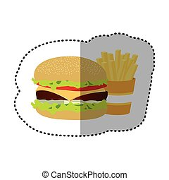 hamburger and fries french icon
