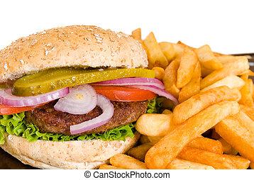 Hamburger and fries - Hamburger with salad, pickle, onions, ...