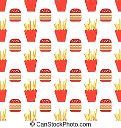Seamless pattern with hamburger and fries vector background