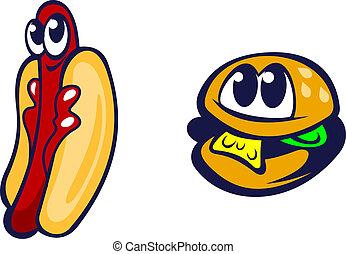 Hamburger and hot dog