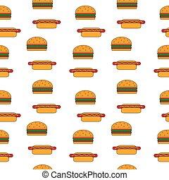 Hamburger and hot dog seamless pattern.