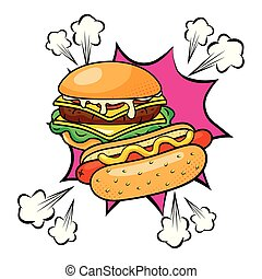 Hamburger and hot dog. Here is a picture of two popular foods.