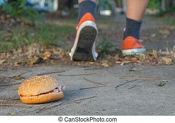 Hamburger and jogging