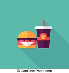 hamburger and soda flat icon with long shadow, eps10