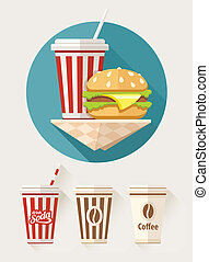 Hamburger and soda in paper cups