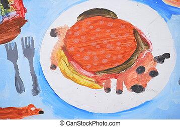 Hamburger art work.