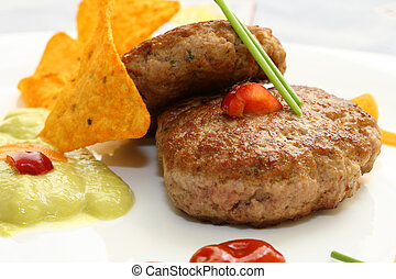 hamburger, auf, platte