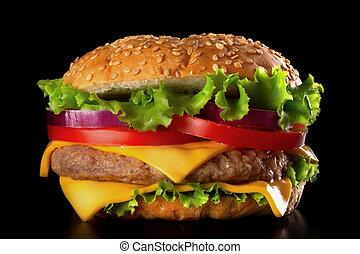 hamburger, auf, schwarzer hintergrund