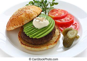 hamburger, avocado
