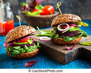 hamburger, barbabietola, avocado, veggie, quinoa