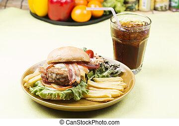 hamburger beef bacon with Cola drink