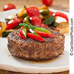 hamburger beef steak with grilled vegetable