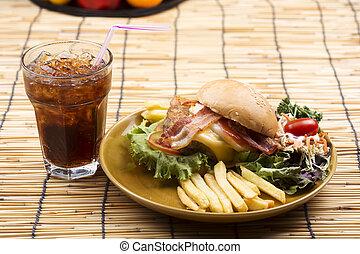 hamburger beef with Cola drink