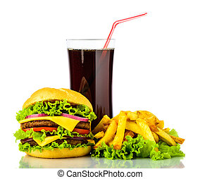 hamburger, bevanda, frigge, francese