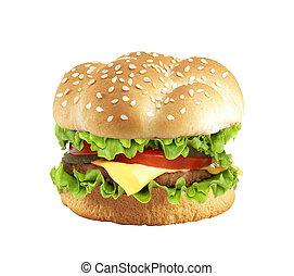 hamburger, biały, odizolowany