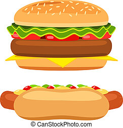 hamburger, bianco, vettore, fondo, hotdog