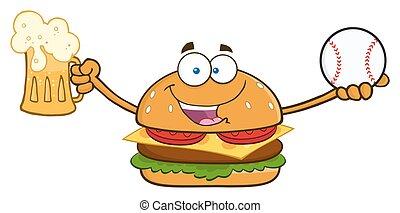 hamburger, birra, presa a terra, felice