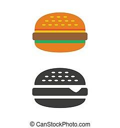 hamburger, blanc, icône, arrière-plan.