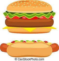hamburger, blanc, vecteur, fond, hot-dog
